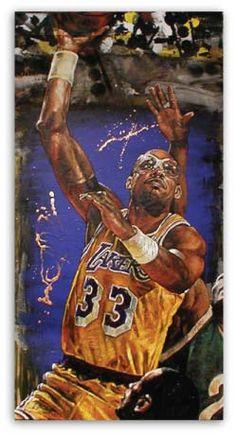 Kareem Abdul Jabar Lakers by Stephen Holland Basketball Boyfriend, Basketball Art, Basketball Pictures, Basketball Legends, College Basketball, Basketball Players, Basketball Couples, Basketball Videos, Basketball Shooting