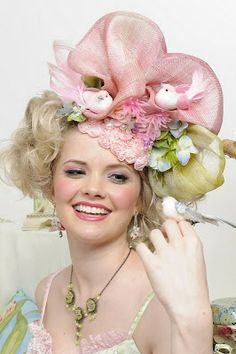Spring is blooming! In sinamay and lace. I do not know the maker. #millinery #judithm #hats