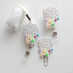 Cloud with Rainbow Hearts Glitter Felt Paperclip | Badge Reel | ID Badge | Felt Badge | Badge Holder | Lanyard | Planner Clip | Glitter Felt