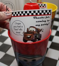 Disney Pixar Cars Birthday Party decorations and drinks Cars Party
