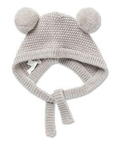 Grey Pom-Pom Wool Hat//