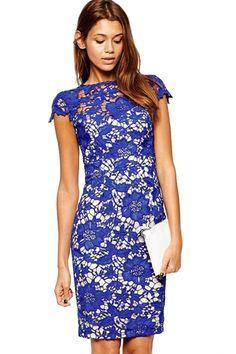 Pencil Lace Overlay Midi Dress - OASAP.com