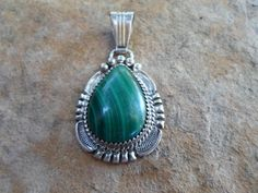 Vintage Navajo Sterling and Malachite Ornate Tear by BaublesAbode, $65.00