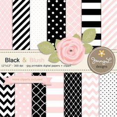 Black and Blush Pink Digital Paper, Blush Rose Flower Clipart for Wedding, Bridal Baby Shower, Birthday, Digital Scrapbooking, Invites