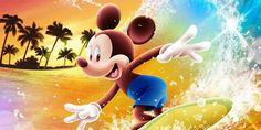 Mickey shooting the curl on a Hawaiian holiday.