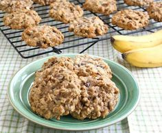 Banana Oatmeal Cookies!  Totally easy: 3 mashed bananas (ripe) 1/3 cup apple sauce 2 cups oats 1/4 cup almond milk 1/2 cup raisins (optional) 1 tsp vanilla 1 tsp cinnamon  Bake at 350 for 15-20 minutes!
