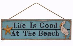 ESE Wooden Beach Plaque Sign Wall Decor Set of 2 20\\