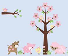Farm Animal Wall Decals-Kids farm animal wall decal stickers, childrens wall decals stickers, nursery room decor, Bebe Diva,