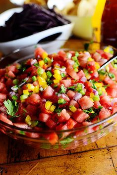 Neighbor's Watermelon Salad: Combine: corn (off cob or canned); chunks of watermelon (no seeds); 1/2 red onion (thinly sliced); 1 jalapeño (thinly sliced); avocado (diced); and fresh mint (optional). For dressing (refrigerate overnight so flavors blend), whisk: 1/3 C fresh lime juice; 1/4 C EVOO; 1 green onion (white part only, thinly sliced); 1 jalapeño (thinly sliced); 1/2 red onion (thinly sliced); S&P. [See Pico De Gallo recipe.]