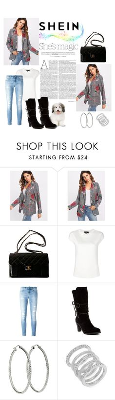 """""""Floral Plaid"""" by max-chance ❤ liked on Polyvore featuring Nicole, Chanel, Theory, Dondup, Johnston & Murphy and Cole Haan"""