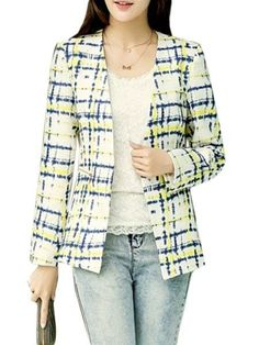 Plaid Stylish Collarless Blazers Only $19.95 USD More info...