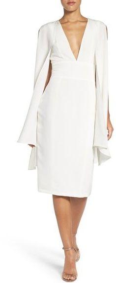 MISHA COLLECTION 'Evona' Caped Silk Midi Dress