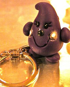 Purple PARKER KeyChain  Polymer Clay Character  by KatersAcres