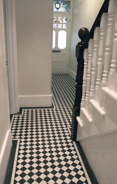 black & white hallway with two line border victorian terrace hallway, hallway, Victorian Terrace Hallway, Edwardian Hallway, 1930s Hallway, Hall Tiles, Tiled Hallway, Hallway Carpet, Black And White Hallway, Black White, Black And White Tiles