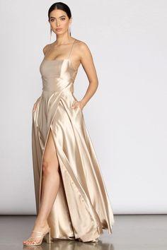 Champagne Bridesmaid Dresses, Gold Prom Dresses, Champagne Dress, Bridesmaid Dress Styles, Beige Dresses, Dance Dresses, Satin Dresses, Gold Silk Dress, Long Gold Dress