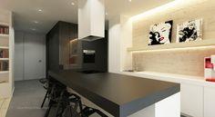 Black Kitchen Worktop Design With Funky Bar Stools Kitchen Worktop, Kitchen Flooring, Kitchen Layout, Kitchen Design, Worktop Designs, Black Kitchens, Modern Interior Design, Cozy House, Interior Inspiration