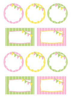 Party Food Labels Girly Yellow Green and Pink- Circles and Squares - Saved Printable Labels, Printable Stickers, Party Printables, Planner Stickers, Free Printables, Card Tags, Gift Tags, Party Food Labels, School Labels