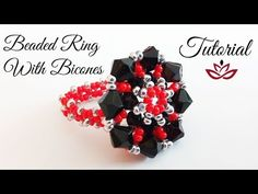 Beaded Ring With Bicones And Seed Beads - Tutorial - YouTube