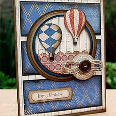 Love how the hot air balloons are floating off. Great focal point on this card.  I need to locate a hot air image on Cricut.