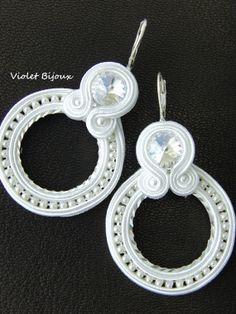 White wedding soutache earrings