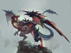 Fantasy creatures, magical creatures, imagine dragons, here be dragons, cla Magical Creatures, Fantasy Creatures, Lightning Dragon, Dragon King, Monster Design, Medieval, Creature Design, Character Illustration, Dungeons And Dragons