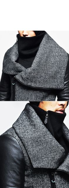 Outerwear :: Coats :: Highneck Shirring Leather Sleeve Herringbone-Coat 96 - Mens Fashion Clothing For An Attractive Guy Look