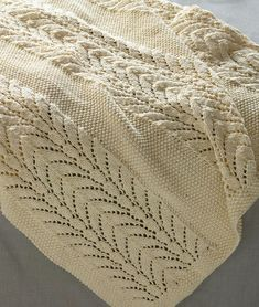 Free Knitting Pattern for Classic Lace Baby Throw - This baby blanket by Lion Brand Yarn is knit in 3 panels of lace and 2 panels of seed stitch and then seamed 32 x 35 in 81 5 x 89 cm Lace Knitting Patterns, Loom Knitting, Knitting Stitches, Free Knitting, Baby Knitting, Finger Knitting, Scarf Patterns, Knitting Tutorials, Afghan Patterns