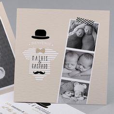 Faire-part de naissance Welcome : jumeaux, moustache , dans la catégorie rustiquechic Announcement, Polaroid Film, Nursery, Diy, Invitations, Moustache, Scrapbooking, Cotton, Birth Announcements