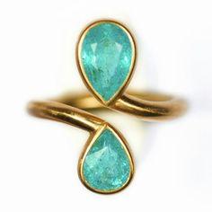 Pear shaped emeralds.