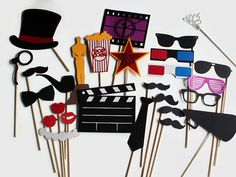 Movie Photobooth Props - 27 Pc Hollywood Party Glamour Collection - Photo Booth Set SHIPS WITHIN 24 HOURS
