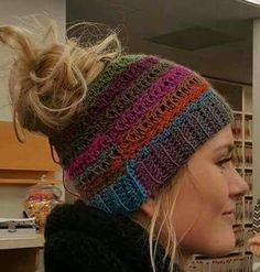 Bun/Ponytail Beanie Made in child to adult sizes.  Solid or Variegated Color: $11.64 Multicolored: $3 extra for each additional color *If you order more than one beanie, price will vary depending on weight & shipping/handling fee will be adjusted.