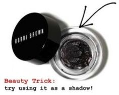 Beauty Trick Alert: Get more use out of your gel eyeliner… and apply it as a shadow! BOBBI BROWN Twilight Night Shimmer Ink does the trick. (212 872 2681)