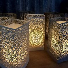 Laser Cut Luminary - Roses from Paper Orchid. How gorgeous are these?!! #PaperOrchid #lights #luminaries