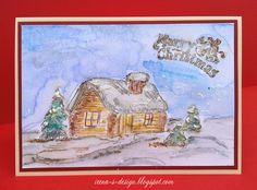 Irena's art handmade Christmas mixed media card