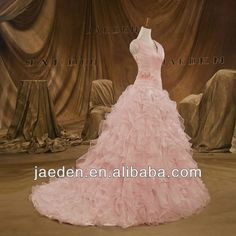 JT0096 V-neck Spaghetti Strap Cascading Ruffled Unusual New Light Pink Wedding Dresses