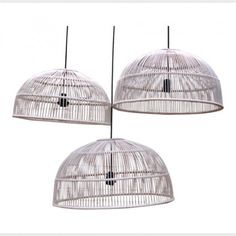 Rattan pendant lights in white