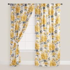 Yellow and Gray Floral Fleurs Curtains, Set of 2 | World Market