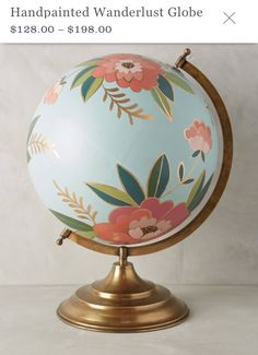 New Anthropologie Stunning Hand Painted Floral Shakespeare Globe Crafts To Do, Arts And Crafts, Diy Crafts, Painted Globe, Hand Painted, Globe Art, Anthropologie Home, Home And Deco, Plywood Furniture
