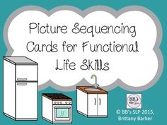 #septSLPmusthaveThank you for looking at this product!  It includes real life pictures which can be used to sequence activities of daily living or functional life skills.Each card can also be used to discuss vocabulary, WH questions, narration skills, problem/solutions, and much more!