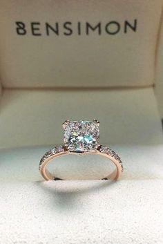 rose gold cushion cut diamond engagement rings for women unique designs #DiamondEngagementRingsimple