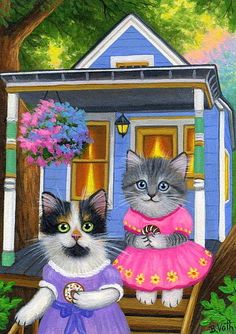 Kittens cats tree house donuts summer cottage original aceo painting art #Realism by Bridget Voth Ebay ID star-filled-sky
