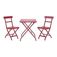 IKEA - MÄLARÖ, Table+2 chaises, extérieur, rouge,
