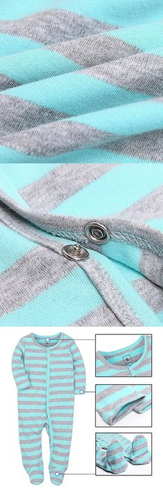 Baby Girl and Boys Footies Pajamas Blue and Grey Striped Cotton Romper 6-9 Months