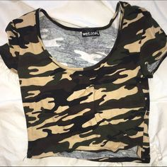 Camo crop top Wet seal brand cotton crop top Wet Seal Tops Crop Tops
