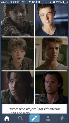 Actors who have played Sam Winchester - Then and Now: Alex Ferris, Colin Ford, Jared Padalecki (Hunter Dillon, who played Sam in Bad Boys, not pictured) hello! I would gladly date any of you! Sammy Supernatural, Supernatural Pictures, Supernatural Wallpaper, Colin Ford, Cw Series, Winchester Boys, Super Natural, Jared Padalecki, Misha Collins