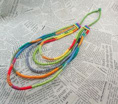 Layered  necklace, Wrapped necklace, Maasai Inspired Tribal, African Necklaces, multicolor wrapped necklace, Rope jewelry, Thread wrapped by boele on Etsy