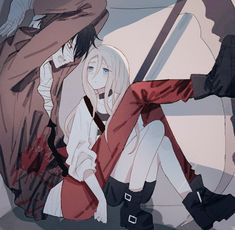 Angel of Slaughter 殺戮の天使 (Massacre Angel) (Satsuriku no Tenshi) 君が笑うまで Angels of Death Fanart Ray (Rachel Gardner) and Zack (Isac Foster) Manga Anime, Anime Guys, Anime Love Couple, Cute Anime Couples, Angel Of Death, Satsuriku No Tenshi, Rpg Horror Games, Animation, Anime Angel