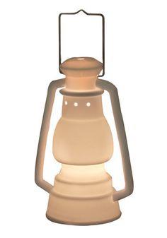 porcelain camp lantern lamp.  under fifty.