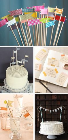 Another pinner said: I made the birthday cake banner with two skewers, Washington tape, and letter stickers. So cute and easy! Tapas, Birthday Fun, Birthday Parties, Birthday Cake, Cake Banner, Party Flags, Celebrate Good Times, Paper Crafts, Diy Crafts