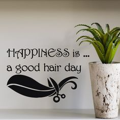Wall Decals Vinyl Sticker Decal Girl Happiness Is A Good Hair Day Scissors kk304 #CAT
